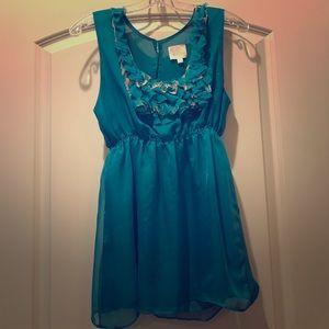 Turquoise Ruffle Blouse