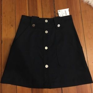 NWT Zara navy blue button up A line skirt - XS