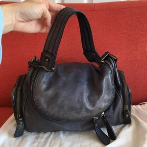Blue leather handbag by Trace of Kale