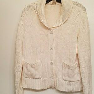 J. Jill Cozy Cream cardigan sweater