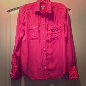 J Crew Neon Pink button up