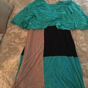 Brand new Turquoise flowy shirt & matching skirt