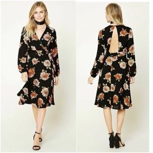 💕SALE💕Floral Print Surplice Neck Tie Wrap Dress