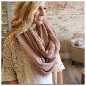 Soft rose blush fringe infinity scarf