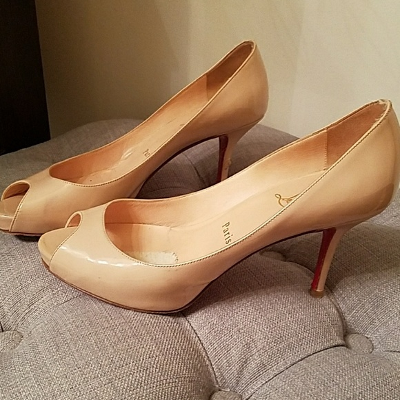 9d302b1596 Christian Louboutin Shoes | Authentic Nude Louboutins Peep Toe 3 ...