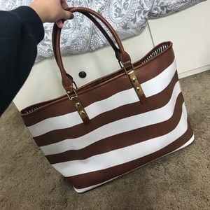 JustFab brown and white striped Tote