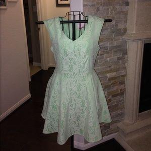Pastel green garden dress.