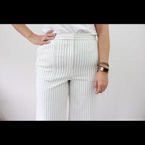 Wide-Leg Pinstripe Pants