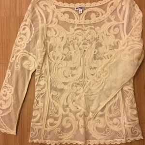 Express ivory sheer embroidered top, size XS