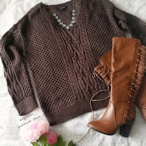 Apt.9 Brown Cable Knit W/Silver Threads