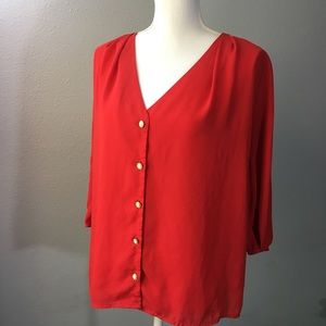 Everly Red Vintage Inspired Blouse