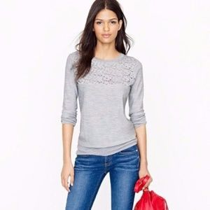 J. Crew Merino Wool Tatted Lace Sweater