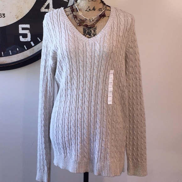 Women s Croft and Barrow Cable-knit V-neck Sweater ecce37b67