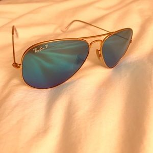 Blue and gold polarized Ray Bans