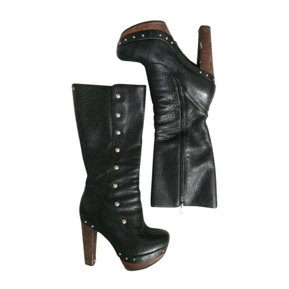 ec06831157e UGG Cosima Leather Tall Heel Studded Black Boots