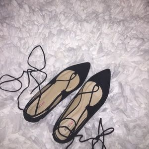 Just Fab Lace up flats- NIB