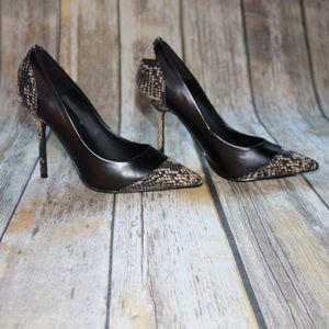 Kelsi Dagger Black / Snake skin heel size 7M