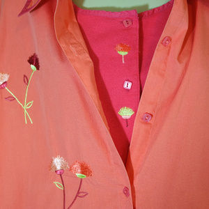 Tops - Coral Bobbie Brooks Embroidered Flower Top 26W/28W