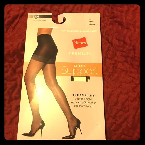 41610ad5e40 Hanes Premium Sheer Support Black Panty Hose sz Lg