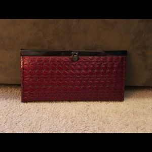 Handbags - RED EMBOSSED FAUX PATENT LEATHER SLIM WALLET