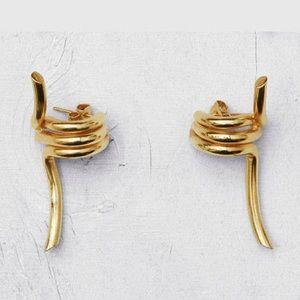 "Gold Knot Geometric Earrings (""Barbele"")"