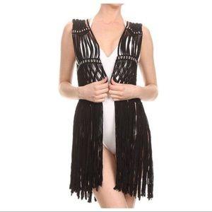 UNIF Black Long Fringe Macrame Vest