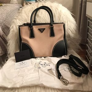 Authentic Prada Handbag with Leather Trim