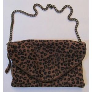 J. Crew Leopard suede shoulder bag clutch envelop