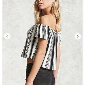 Tops - Stripe Off The Shoulder Top