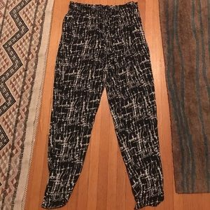Black and white flowy pants