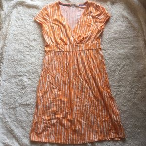 Boden orange and white cap sleeve v neck dress