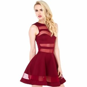 Dresses & Skirts - Burgundy Mesh Fit & Flare Dress