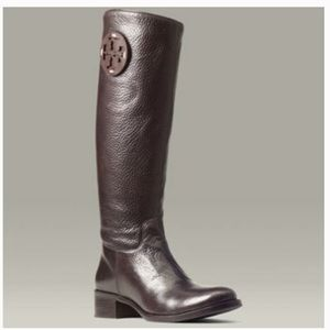Tory Burch Brown Pebble Leather Riding Boots 6M