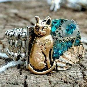 "Adjustable Ooak ""Kitty Punk"" Ring, Handmade"