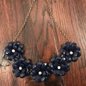 J.Crew Navy Blue Flower Statement Necklace