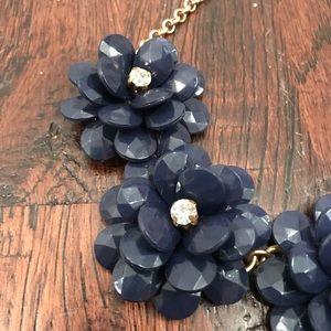 J. Crew Jewelry - J.Crew Navy Blue Flower Statement Necklace