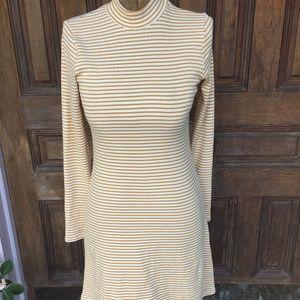 NWT American Apparel Gold Stripe Long Sleeve Dress