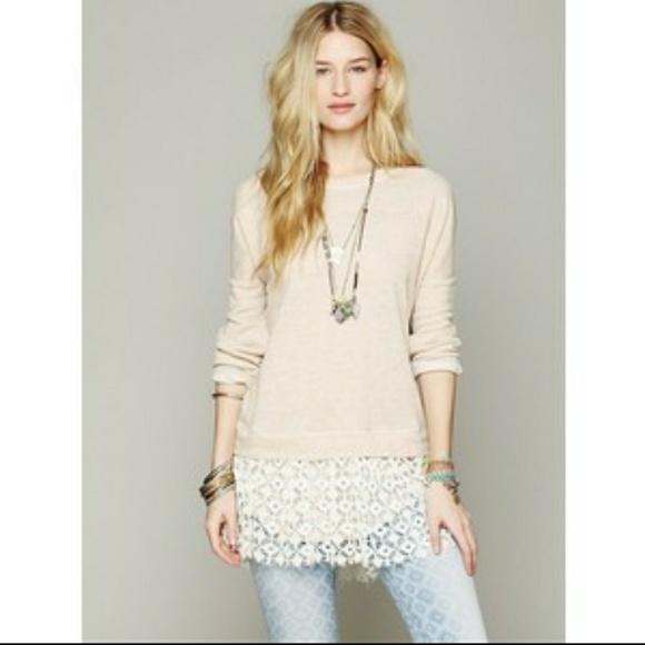 0aa2897a0a Free People Tops | Fp Beach Shake It Pullover Lace Trim Sweatshirt ...