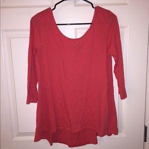 Coral 3/4 length sleeve shirt