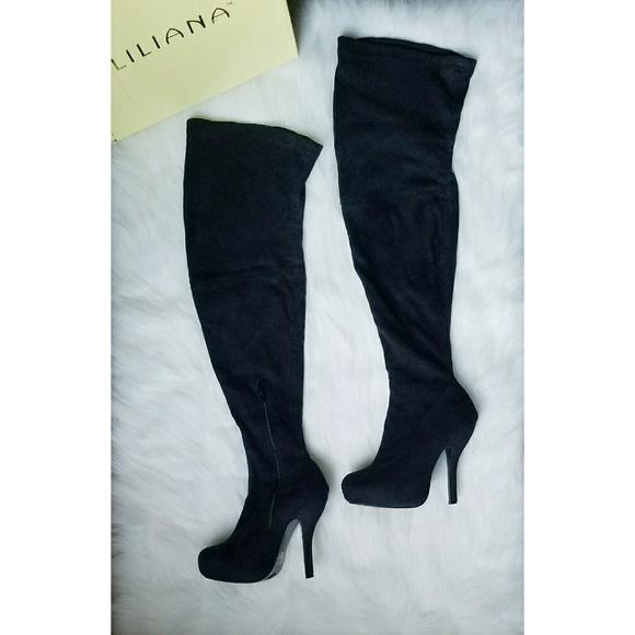 liliana chaussures en daim daim en noir poshmark cuisse stretch bottes 762598