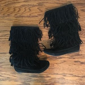 Shoes - Black Fringe Suede Boots