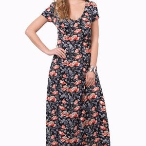 Dresses & Skirts - Garden Floral Black Maxi Dress with Tie Back
