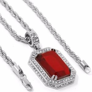 Other - White Gold Plated Iced Out Red Ruby Necklace