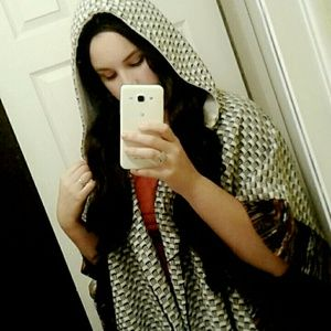 Knit Cape Poncho With Hood