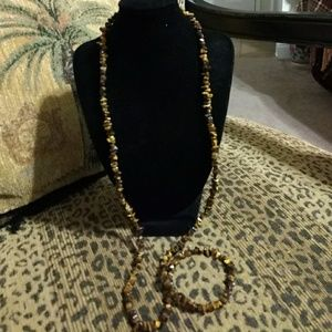 """Jewelry - BROWN STONE BEADED NECKLACE 24"""""""