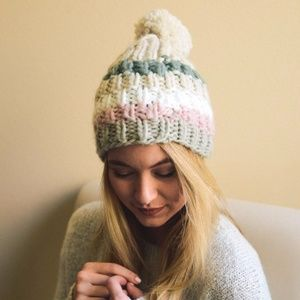 Accessories - BEST SELLER!  Brooklyn Striped Pom Beanie--Oatmeal