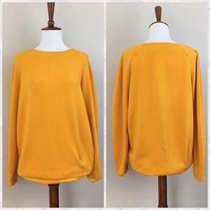 Zara Gold Long Sleeve Crew Neck Top
