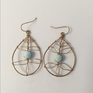 Jewelry - Turquoise and gold earrings