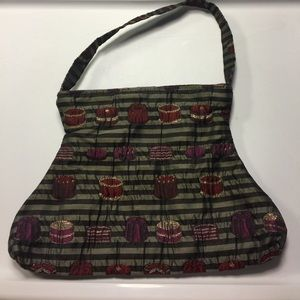 Maruca NWOT black and silver striped cake purse