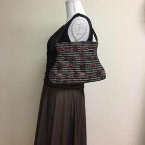Handbags - Maruca NWOT black and silver striped cake purse